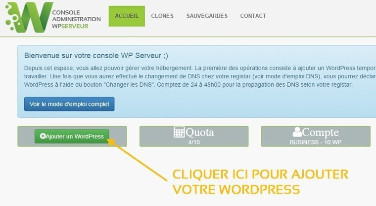Installer wordpress avec WPserveur