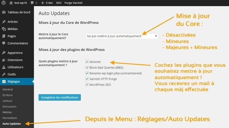 Mise à jour de vos sites wordpress